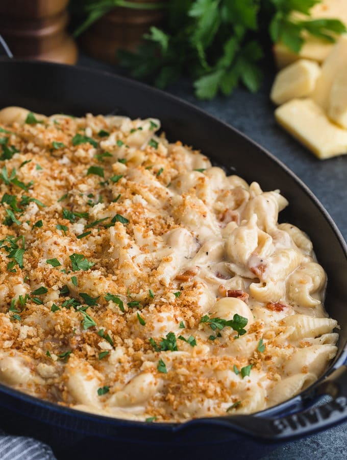 pan of gouda macaroni and cheese topped with toasted panko breadcrumbs