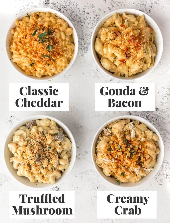 four bowls of instant pot macaroni and cheese with sauce variations