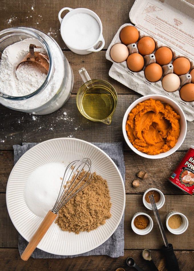 overhead view of ingredients needed to make pumpkin bundt cake