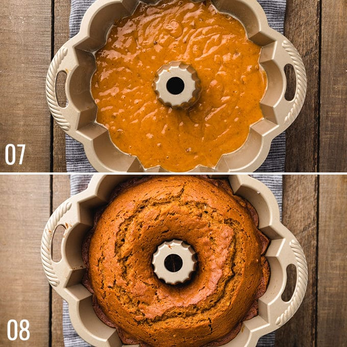 side by side comparison of unbaked and baked pumpkin cake in a bundt pan