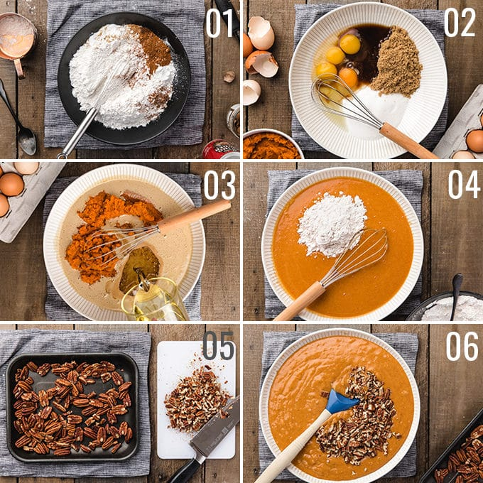 overhead photos showing the process of making pumpkin bundt cake