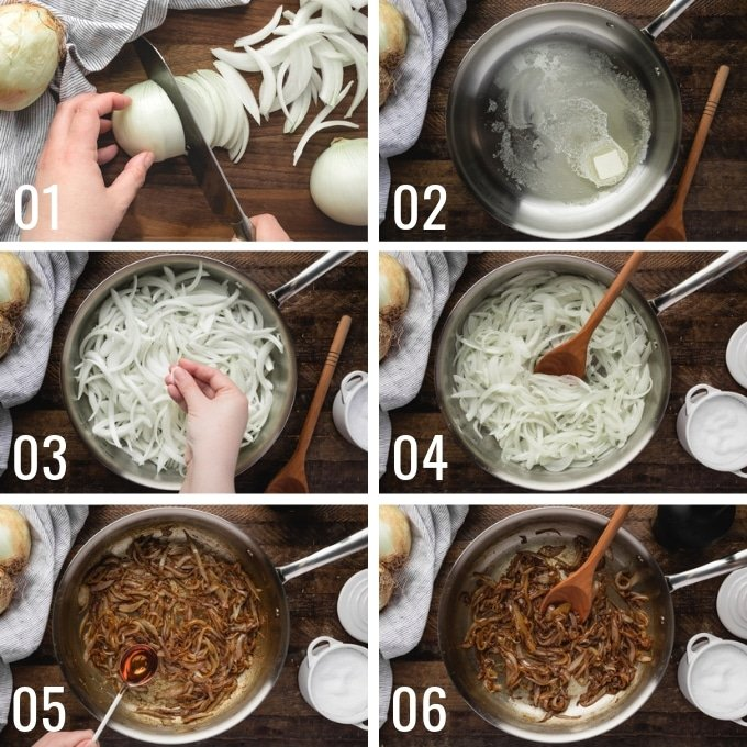 step by step process of how to make caramelized onions