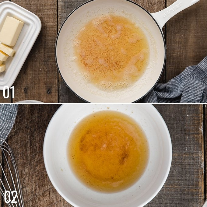 overhead photos showing how to make brown butter