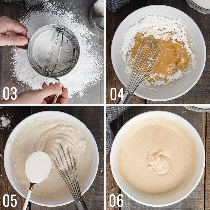 four photos showing the process of mixing brown butter cake glaze