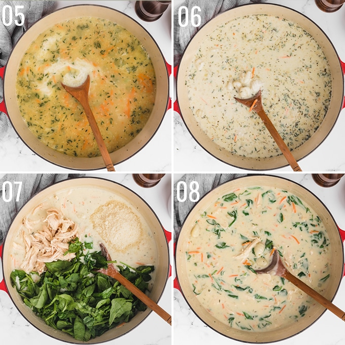 four overhead photos showing the process of simmering chicken gnocchi soup