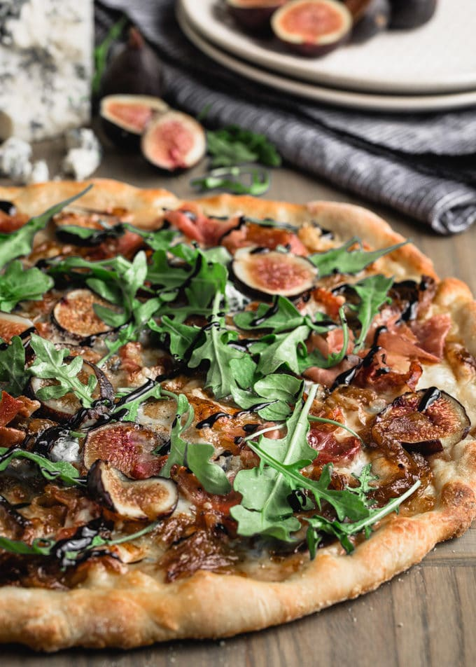 Fig Pizza With Gorgonzola And Prosciutto Striped Spatula