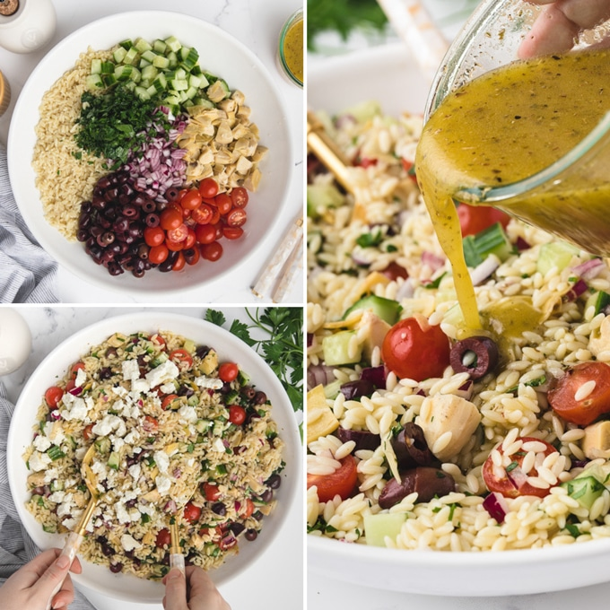 3 photos showing the process of assembling orzo salad  - the untossed salad in a bowl, tossed salad with feta, and pouring vinaigrette over the salad from a jam jar