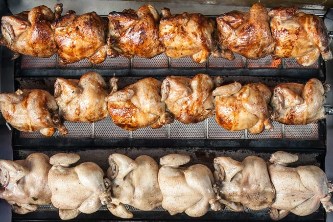 chickens roasting in a rotisserie