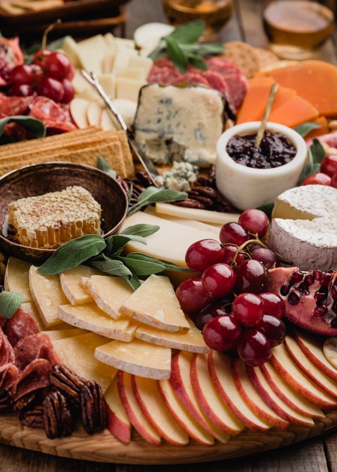 side view of a fall harvest cheese board