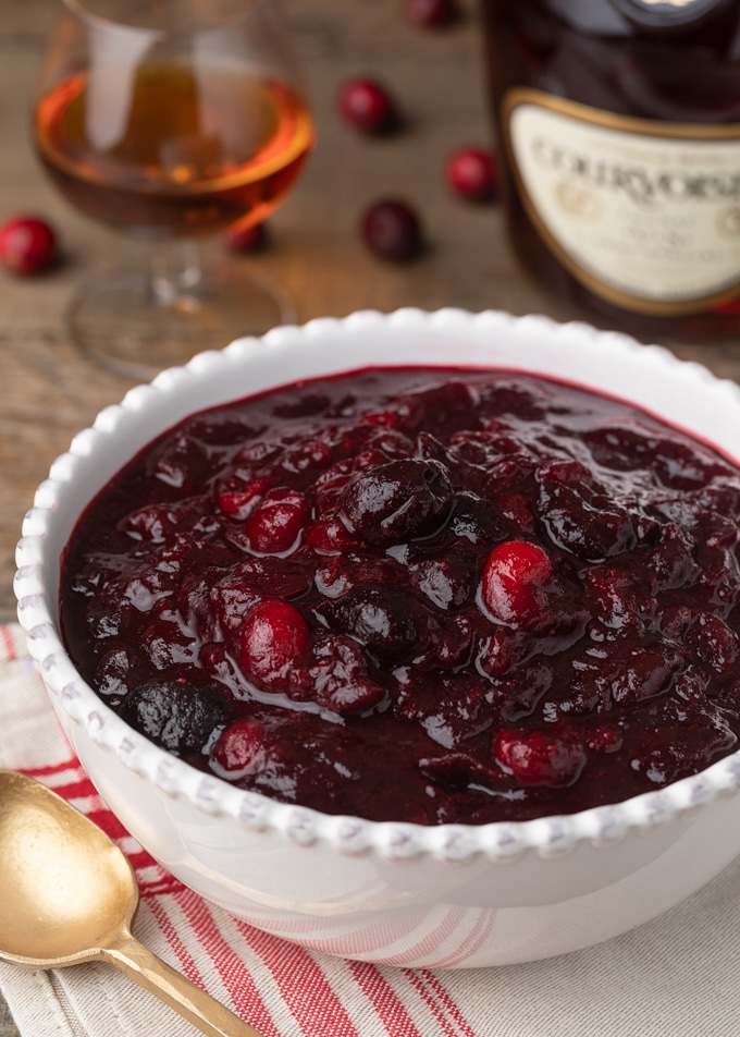 cherry cranberry sauce in a bowl immediately after cooking
