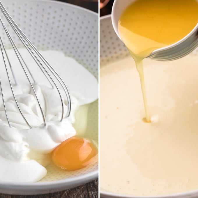 collage of wet ingredients for cornbread: Left side - sour cream, buttermilk and eggs, Right side - melted butter being poured into the batter