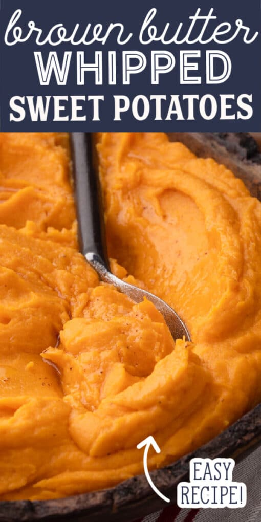 whipped sweet potatoes with brown butter pin image