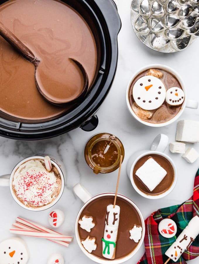 slow cooker hot chocolate with seasonal marshmallows