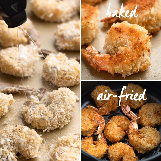 3-frame photo showing spraying raw breaded shrimp with oil spray, and comparing baked and air-fried coconut shrimp