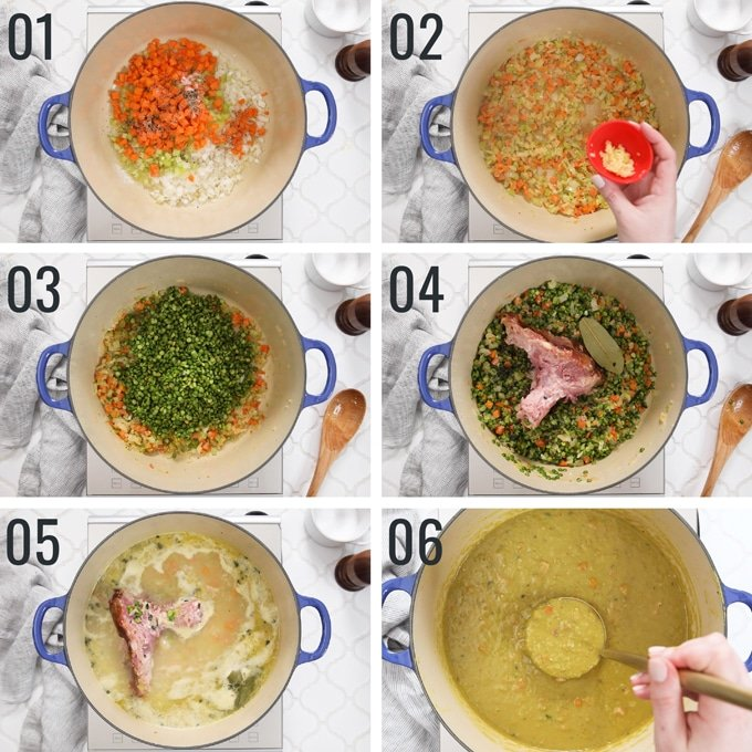 six overhead photos showing the process of making split pea soup with ham