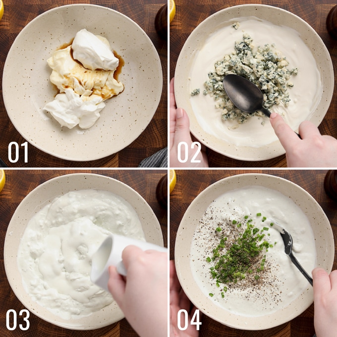 4 photos showing the process of making blue cheese dressing