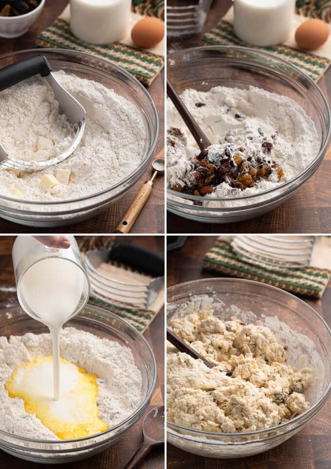 collage of four photos showing the process of making Irish-American soda bread dough with raisins