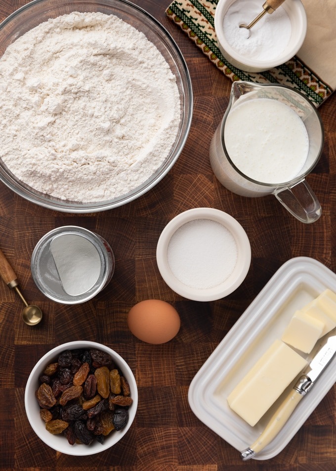 overhead of American-Style Irish Soda Bread ingredients