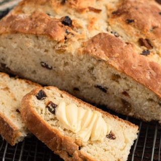 sliced American Irish Soda bread with Irish butter