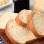 closeup of sliced homemade white bread