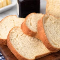 closeup of sliced homemade white bread