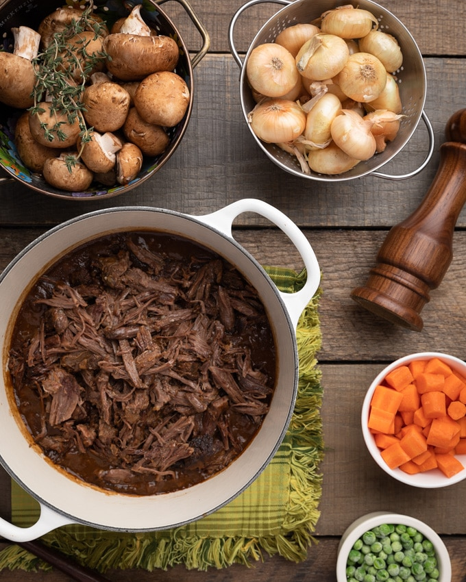 overhead photo of the ingredients for short rib cottage pie