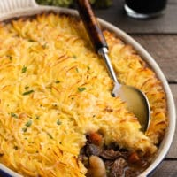 short rib cottage pie in an oval gratin dish