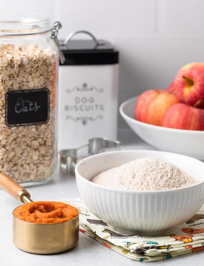 ingredients for homemade dog treats on a white countertop: canned pumpkin, whole wheat flour, apples, and oats