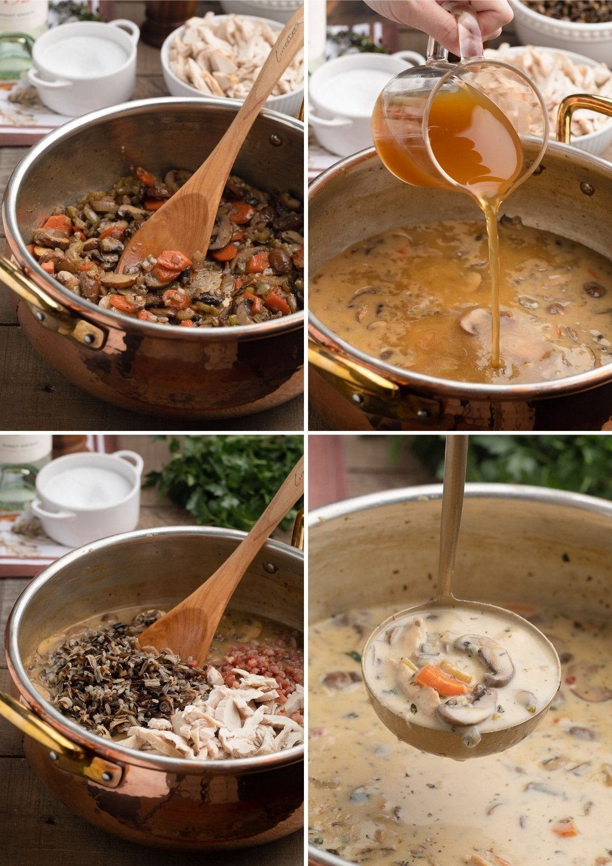 four photos showing the process of making creamy turkey wild rice soup