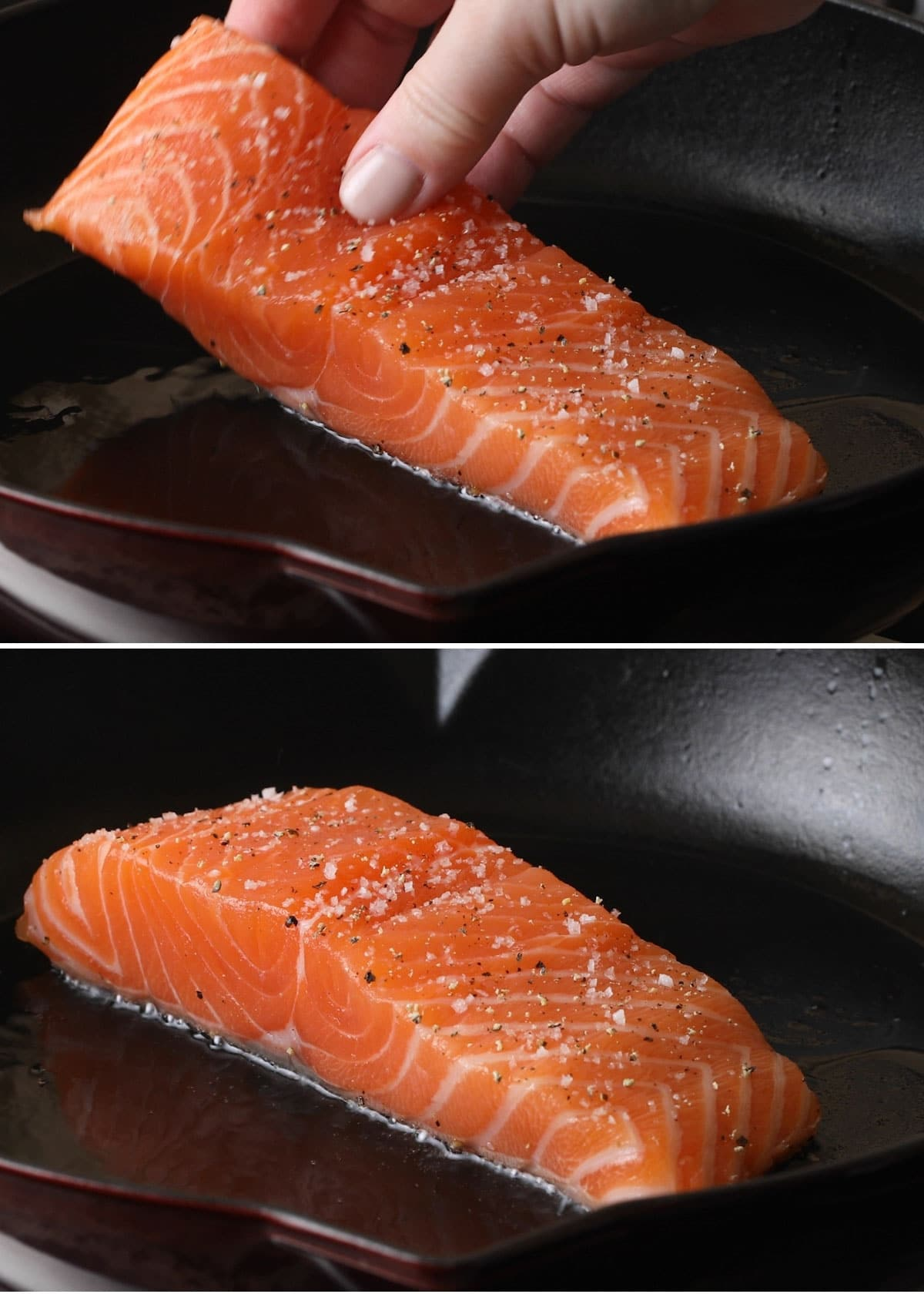 two photos showing the process of pan searing salmon: placing the fillet in the pan and the fillet starting to buckle