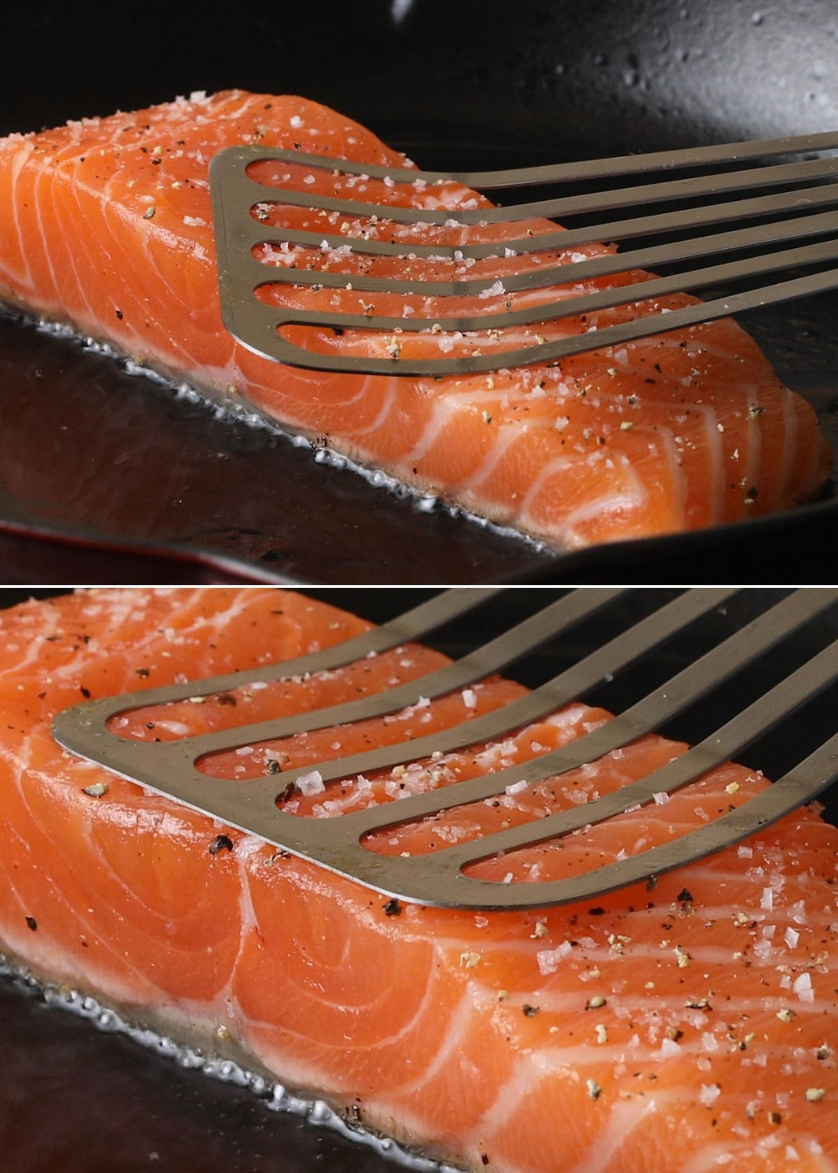 two photos showing pressing down on a salmon fillet with a fish spatula after it's placed in a heated pan