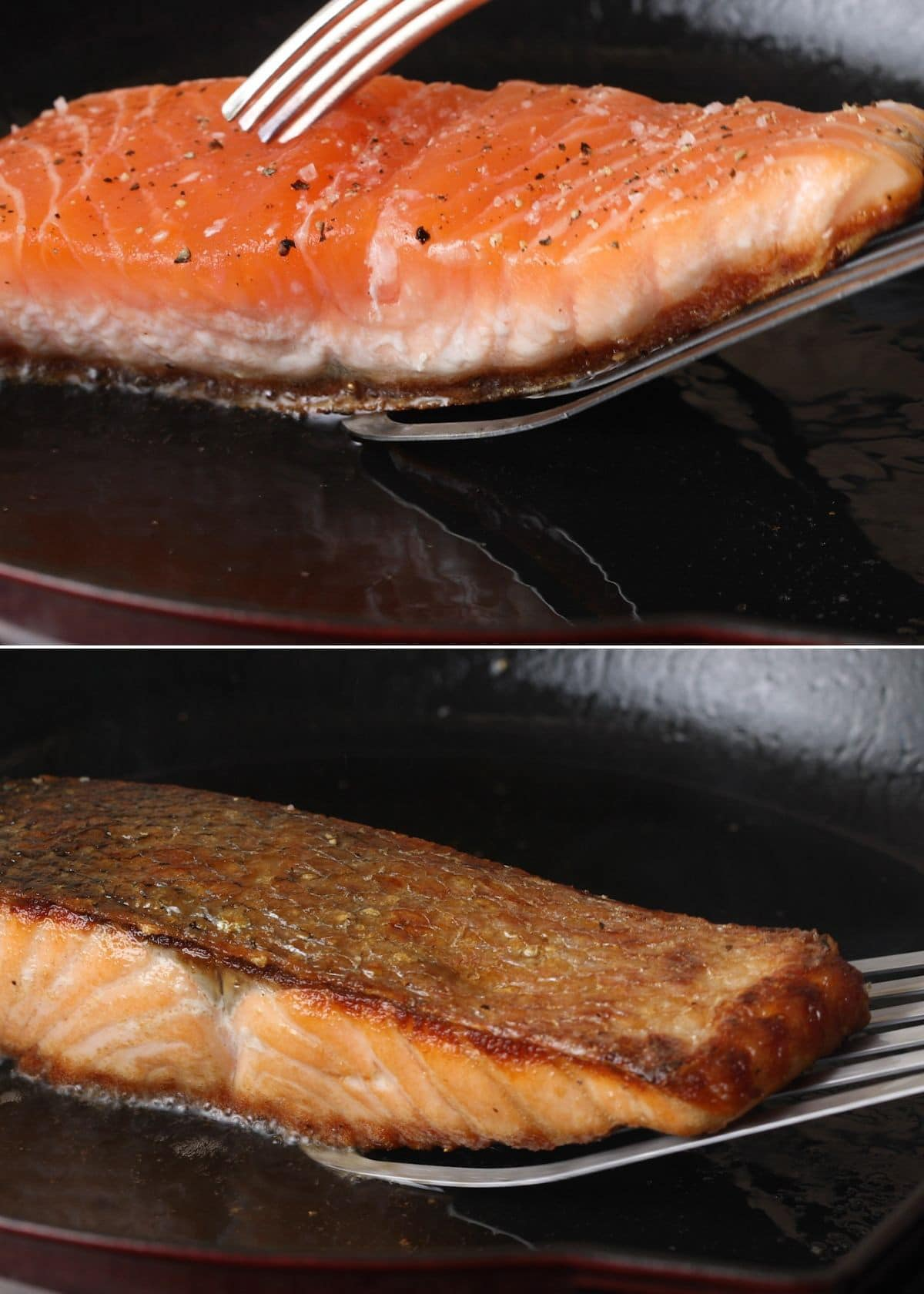 two photos showing flipping a pan-seared salmon fillet in a cast iron pan