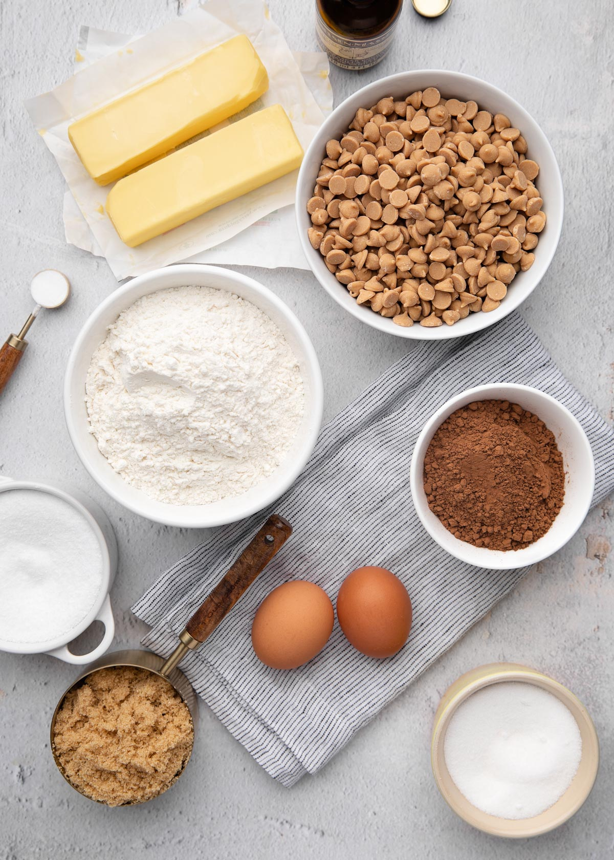 overhead of ingredients for chocolate peanut butter chip cookies