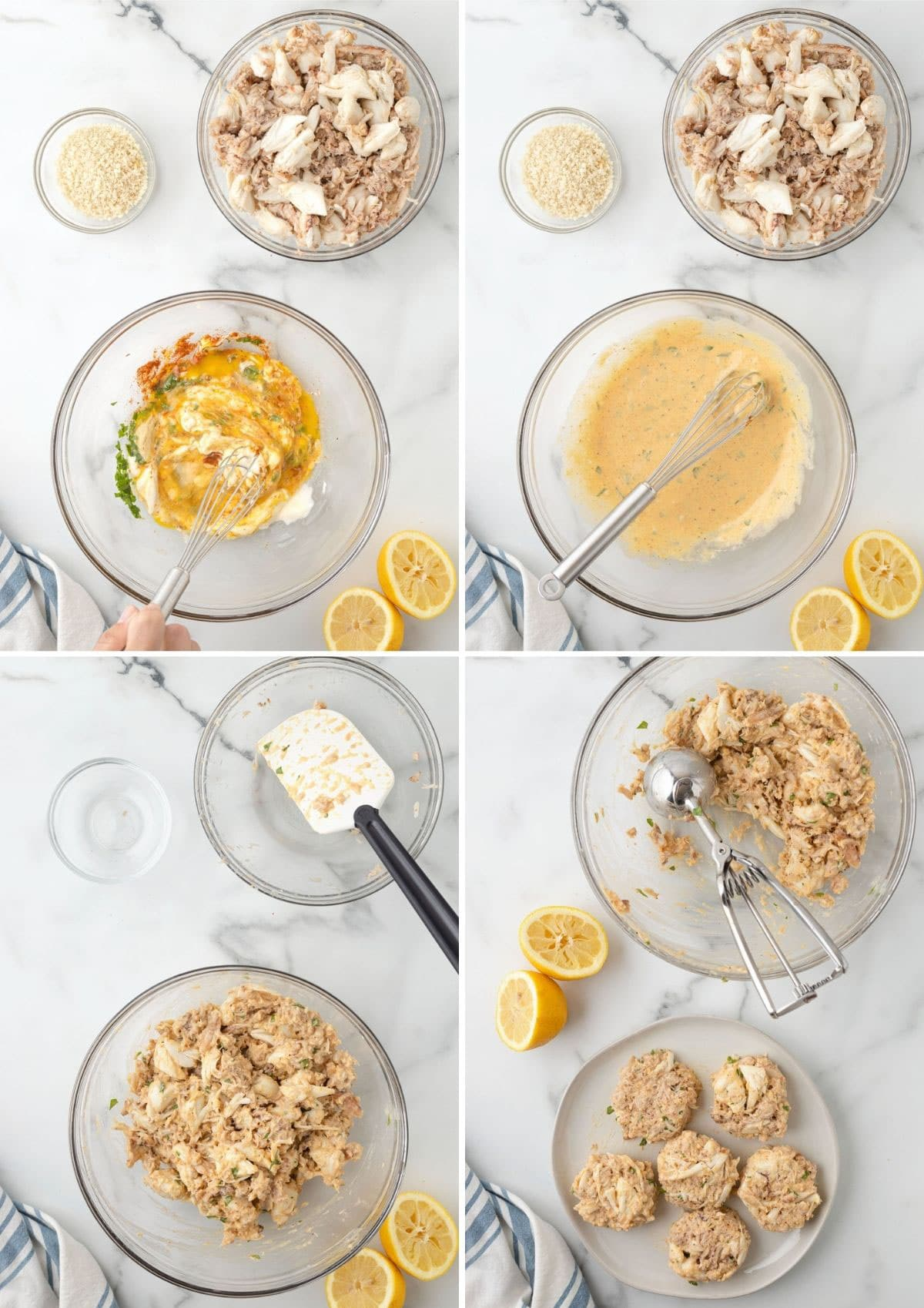 four overhead photos showing the process of mixing crab cakes