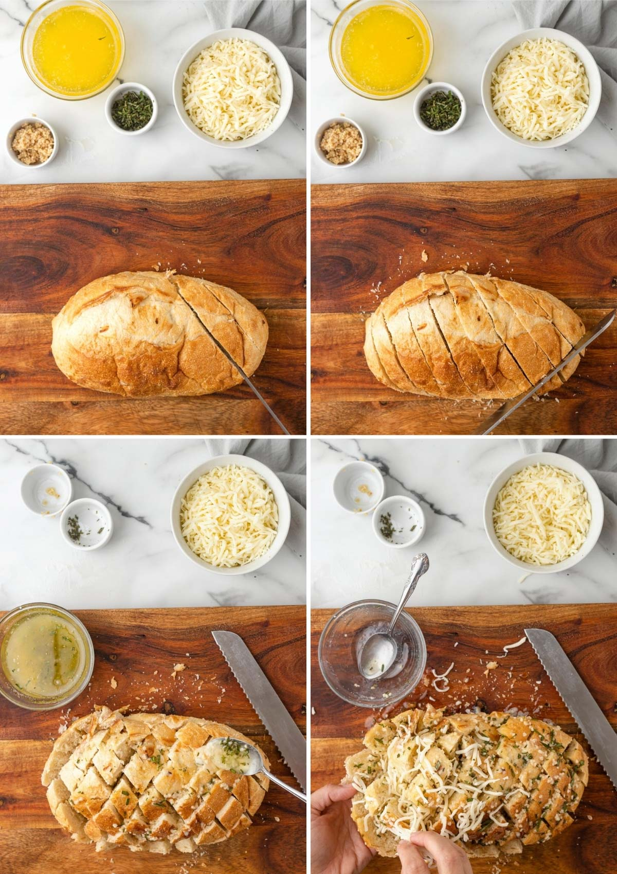 four photos showing the process of cutting and filling garlic pull apart bread with cheese